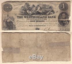 1854 $4 The Westmorland Bank of New Brunswick CHARLTON#800-10-30. AVG Condition