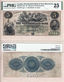 1861 $5 The Westmorland Bank of New Brunswick CHARLTON#800-12-06 PMG VF25