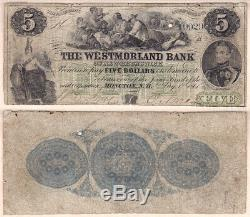 1861 $5 The Westmorland Bank of New Brunswick CHARLTON#800-12-06a VG/F Condition