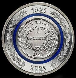 2 x NEW BIMETALLIC COIN, THE PHOENIX OF 1828 COIN / 5 EURO GREECE 2021 1821
