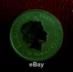 2000 AUSTRALIA YEAR OF THE DRAGON LUNAR SERIES 1 $25 1/4 oz. 9999 GOLD NEW