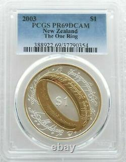 2003 New Zealand Lord of the Rings One Ring $1 Silver Proof Coin PCGS PR69