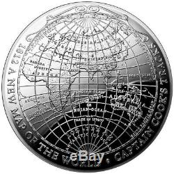 2019 Australia 1 Oz. 999 Silver 1812 A new Map of the World Terrestrial Dome