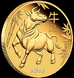 2021 Australian Lunar Year of the Ox 1/10 oz Gold Proof $15 Coin NEW Series-3