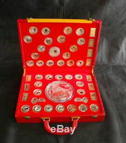 48 New 2021 Chinese Zodiac 24K Gold Silver Colour Jade Coins Set-Year of the Ox
