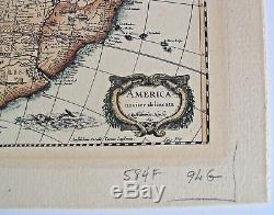 Antique 1641 Map Of The New World Americas North Central South America Latin