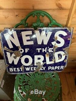 Antique Enamel Tin Metal News Of The World Best Weekly Paper Sign Retro Vintage