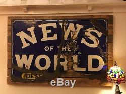 Authentic Enamel News Of The World Best Weekly Paper Mounted Sign C. 1910 -1920