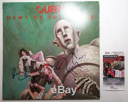 Brian May Roger Taylor Signed QUEEN News of the World Vinyl EXACT Proof JSA COA