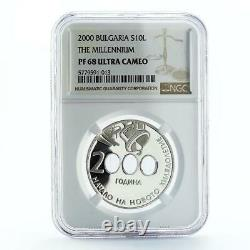 Bulgaria 10 leva The Beginning of the New Millennium PF68 NGC silver coin 2000