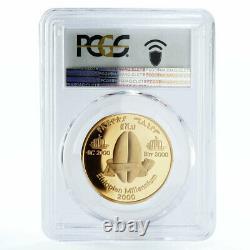 Ethiopia 2000 birr New Millennium The Skull of Selam PR69 PCGS gold coin 2000