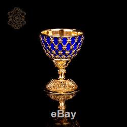Frage Silver 925 Egg Cup MIRROR OF THE WORLD Sapphires Casting Hot enamel New