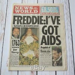Freddie Mercury Queen I've Got Aids UK News Of The World Newspaper 24.11.1991