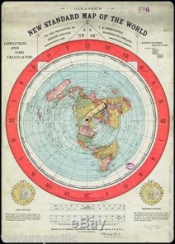 Gleason's New Standard Map of the World Flat Earth circa 1892 24x36 CANVAS