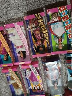 Huge Barbie Lot Dolls Of The World 18 New In Boxes