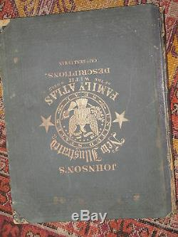 JOHNSON'S NEW ILLUSTRATED FAMILY ATLAS OF THE WORLD 105 maps 1866 new york raro