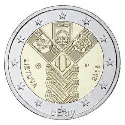 LITHUANIA 2018 Set of coins The 100th anniversary of the Restoration BU NEW