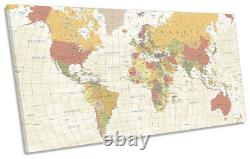 Map of the World Countries Print PANORAMIC CANVAS WALL ART Picture Beige