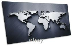 Map of the World Grey Framed PANORAMIC CANVAS PRINT Wall Art