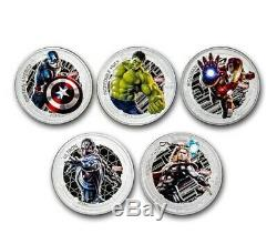 Marvel The Avengers Age of Ultron NIUE 2015 Silver Proof. 999 5 Coin Set BU New