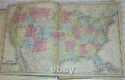 Mitchell's New School Atlas 1875! U. S. States! Countries Of The World! 44 Maps