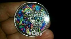 NEW! 1oz Silver Mexico Libertad Day of the Dead Colorized & Ruthenium plated coin