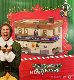 NEW RETIRED Dept 56, Elf The Movie World's Best Cup Of Coffee Shop Buddy Leon