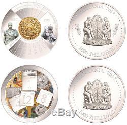 NEW! Tanzania Set 2 coins 2017.999 Silver Evolution of the calendar
