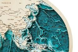 NEW WoodenMap 3D world wooden map in the projection of Robinson