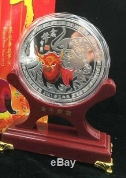 New 2021 Chinese Zodiac Big Silver Colour Medal Coins 1KG Year of the Ox