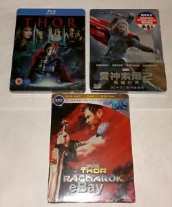New Marvel's Thor Blu-Ray SteelBook Lot Of 3 Thor, The Dark World, Ragnarok