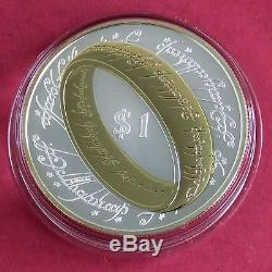 New Zealand 2003 Lord Of The Rings $1 Silver Proof With 24 Carat Gold Highlights