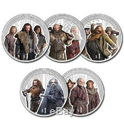 New Zealand 2013 Silver Proof 5 Coin Set The Hobbit The Desolation of Sma