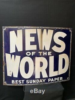 News Of The World Original Vintage Enamel Sign (5ft X 4ft)