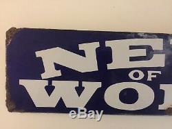 News Of The World Vintage Enamel Sign Antique 1950s Retro Advertising
