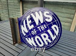 Original Double Sided News of The World Enamel Sign with mount bracket