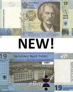 POLAND 2019 19 ZL zlotych NEW Banknote 100th Anniversary of the PWPW FOLDER