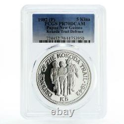 Papua New Guinea 5 kina Defense of the Kokoda Trail PR70 PCGS silver coin 1982