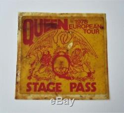 QUEEN Original 1978 European Tour Stage Pass News Of The World Concert