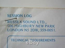 QUEEN Original Brian May Signed News Of The World 1977 Album Session Log