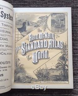 RARE VINTAGE 1890 Rand McNally New Standard Atlas of the World Antique Maps