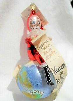 Radko 1999 CHECKING HIS LIST Santa On Top Of The World VERY RARE NEW withTag