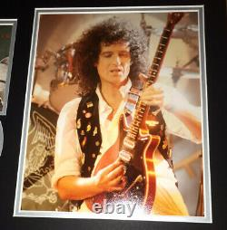 SIGNED BRIAN MAY 16x12 QUEEN NEWS OF THE WORLD MOUNTED DISPLAY AUTHENTIC RARE