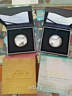 Set 2 x 2019 $5 Fine Silver Domed Proof Coin New Map of The World Cook & Columbs