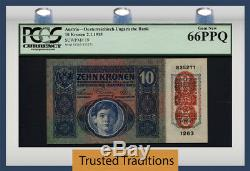 Tt Pk 19 1915 Austria 10 Kronen Pcgs 66 Ppq Gem New 1 Of The Only 3 Gems Known