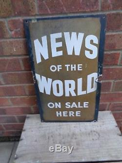 Vintage 1930s News of the world on sale here shop Enamel metal advertising Sign