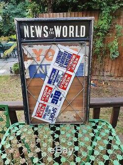 Vintage Classic News Of The World Wooden Newspaper Sellers Stand