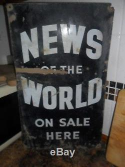 Vintage Enamel News Of The World Advertising Sign