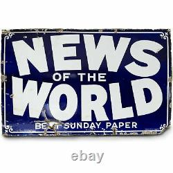 Vintage Enamel News Of The World Newspaper Sign