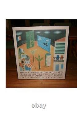 Vintage Framed David Hockney'New World Festival Of The Arts' 1982 Miami Poster